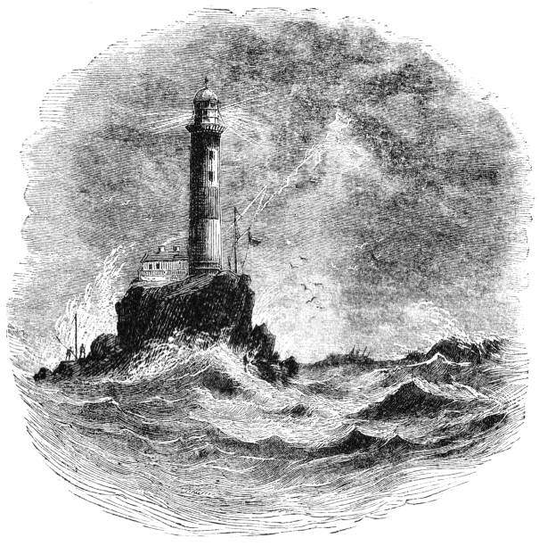 Victorian illustration Fastnet lighthouse Southern Ireland; Lighthouses and lightships 1873 vector art illustration