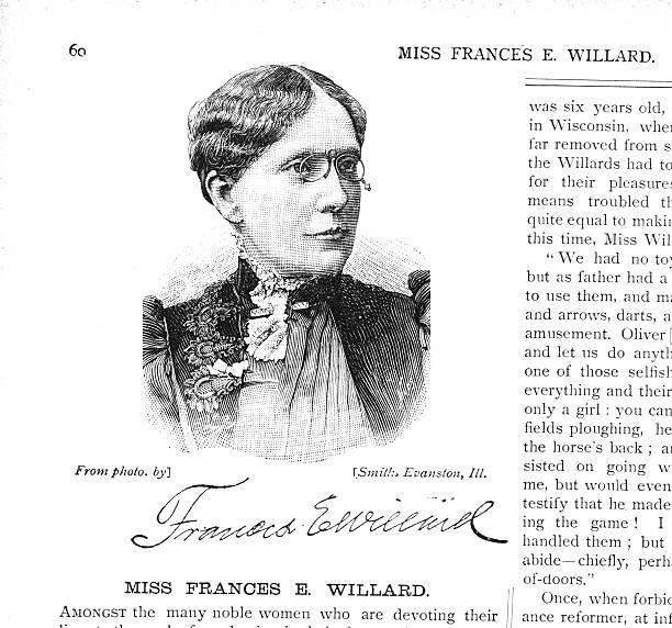 Victorian illustration Miss Francis Elizabeth Caroline Willard Suffragist Temperance A 19th century illustration of Miss Francis Elizabeth Caroline Willard (1839-1898 america) women's suffrage stock illustrations