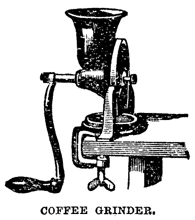 Victorian illustration of a clip on coffee grinder for the 19th century housewife and cook; complete with text; from Mrs Beeton's Cookery Book 1899
