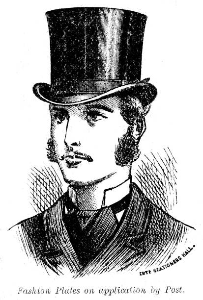 Victorian  illustration of a gentleman's head and shoulders wearing a top hat; Text 'Fashion Plates on Application by Post.' 1879 vector art illustration