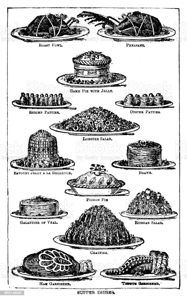 Victorian illustration of a group of supper dishes for the 19th century store cupboard within a frame and with text; from Mrs Beeton's Cookery Book 1899 vector art illustration