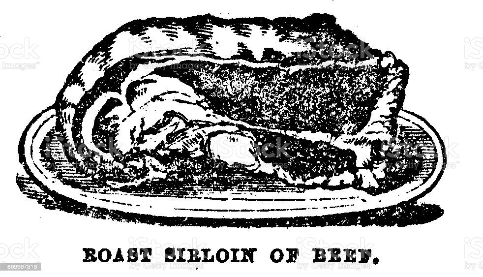 Victorian illustration of a roast sirloin of beef; recipes for the 19th century housewife and cook complete with text; from Mrs Beeton's Cookery Book 1899 vector art illustration