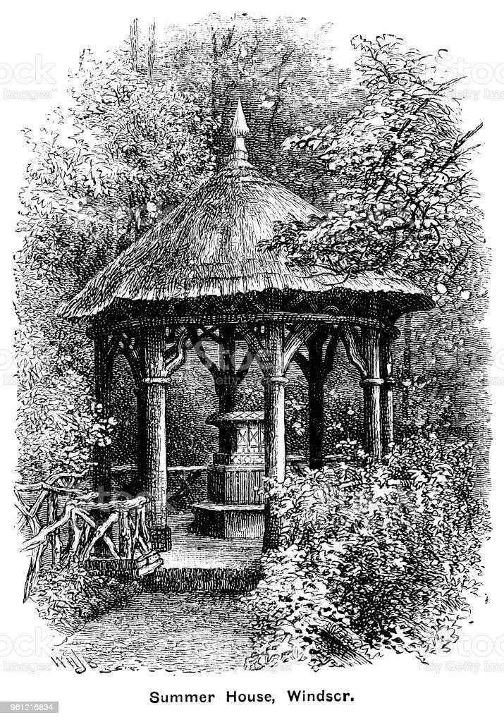 Viktorianische Illustration Des Reetgedeckten Ferienhaus Auf Dem ...