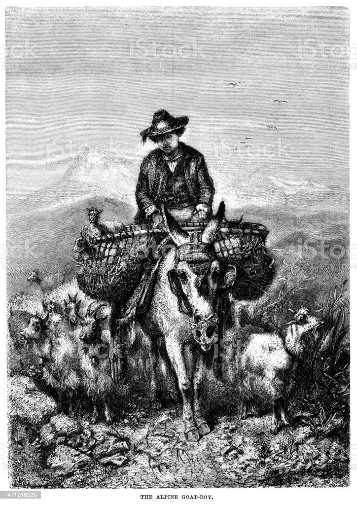 Victorian illustration of an alpine goat-boy vector art illustration