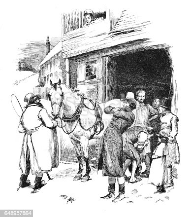 istock Victorian illustration of Farrier shoeing a horse in stables, men stood around waiting; Artist Hugh Thomason. 648957864