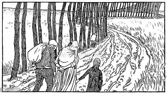 Victorian illustration of people walking along a country road