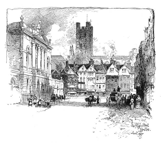 Victorian illustration of the bustling High Street in Bath Wiltshire; artist Herbert Railton. vector art illustration