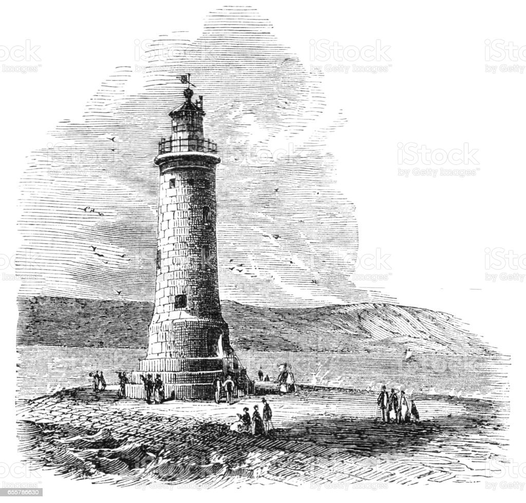 Victorian illustration Plymouth breakwater lighthouse 1870; vector art illustration