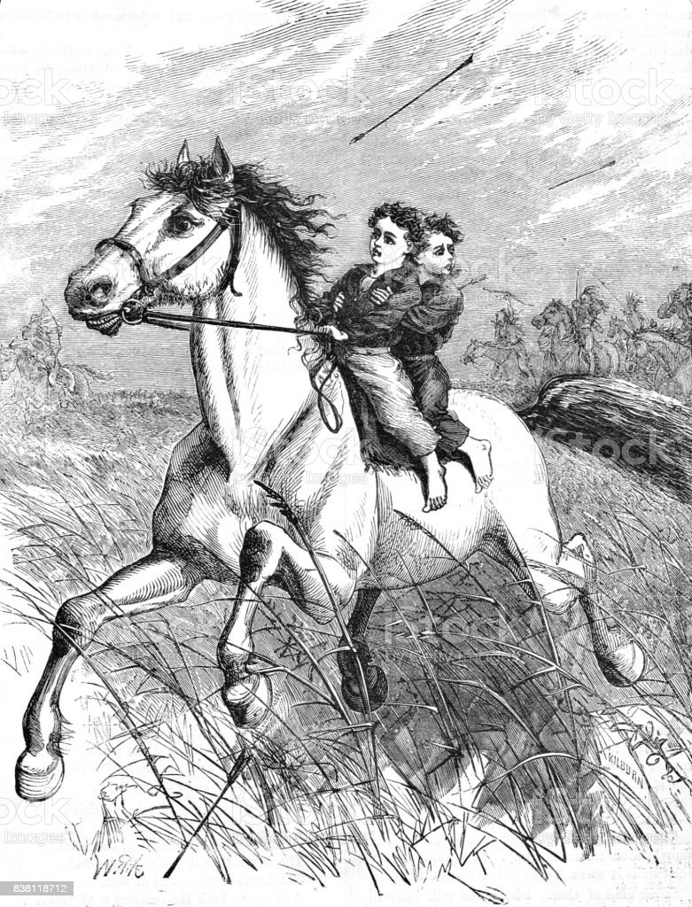 Victorian Illustration Two Young Boys Riding On A Horse With Arrows