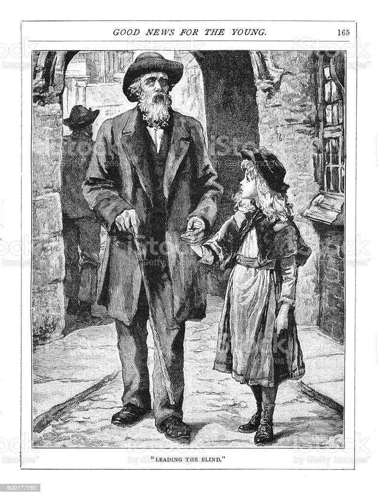 Victorian illustration young girl leading blind gentleman down street vector art illustration