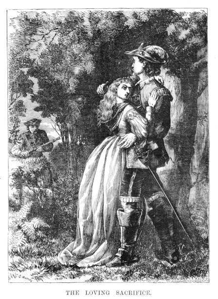 illustrations, cliparts, dessins animés et icônes de image victorienne d'une époque antérieure, représentant deux amants enlacés alors qu'un autre homme s'approche eux. intitulé «le sacrifice affectueux» 1883 - femme seule s'enlacer