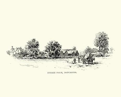 Vintage engraving of Victorian Intake Farm Doncaster, Yorkshire, England, 1892