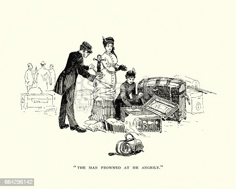 Vintage engraving of Victorian ladies and their luggage, 19th Century
