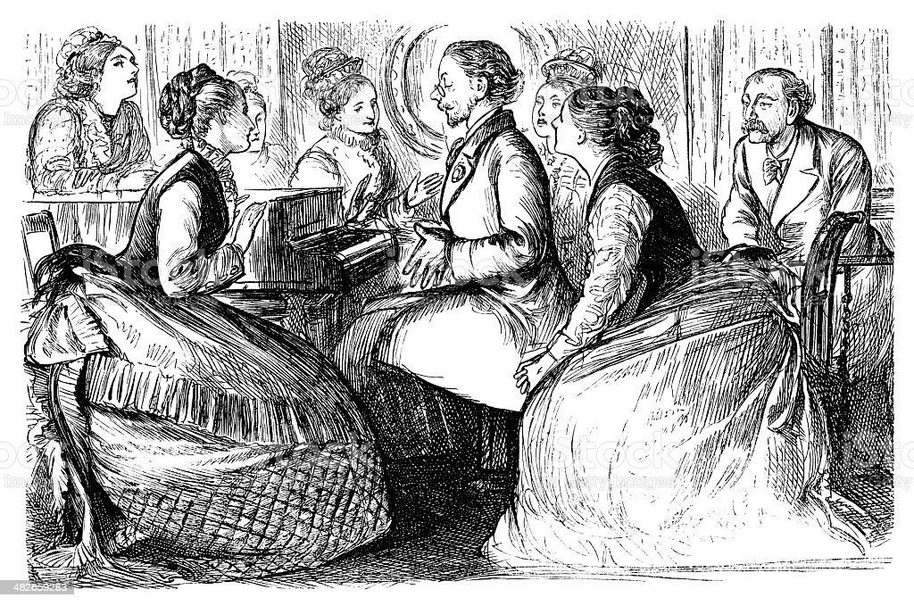 Victorian ladies applauding a pianist royalty-free stock vector art