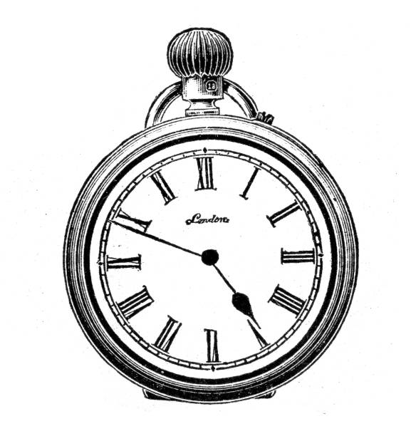 Victorian Ladies Pocket watch vector art illustration