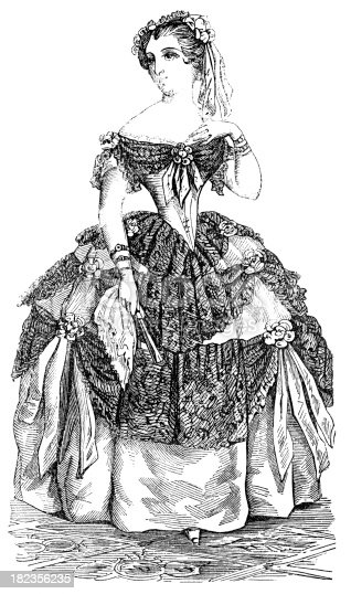 An illustration from Sartain's Union Magazine of Literature and Art (1850). No longer in copyright. This illustration shows a lady dressed in clothing appropriate for attending an evening event such as a dinner or ball.