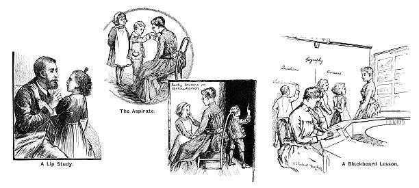 ilustrações, clipart, desenhos animados e ícones de victorian aulas para surdos crianças - aula de idioma