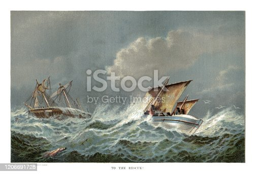 istock Victorian lifeboat going to the rescue of a stricken sailing ship in rough seas 1206691728
