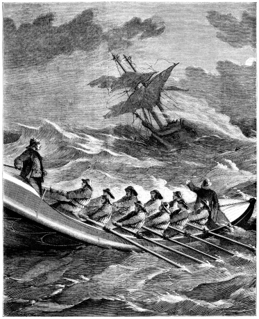 Victorian lifeboat men rowing to rescue a stricken ship