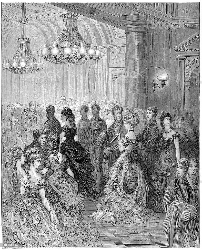 Victorian London - A Ball at the Mansion House vector art illustration