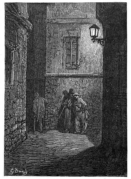 bildbanksillustrationer, clip art samt tecknat material och ikoner med victorian london - a shady place - gränd