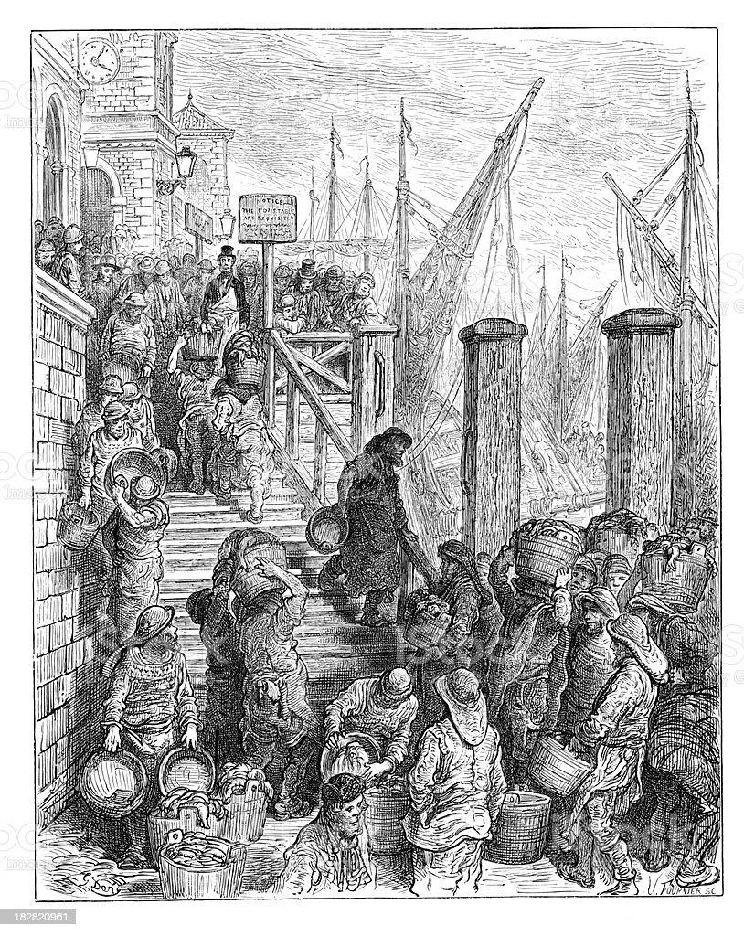 Victorian London - Billingsgate Market royalty-free stock vector art