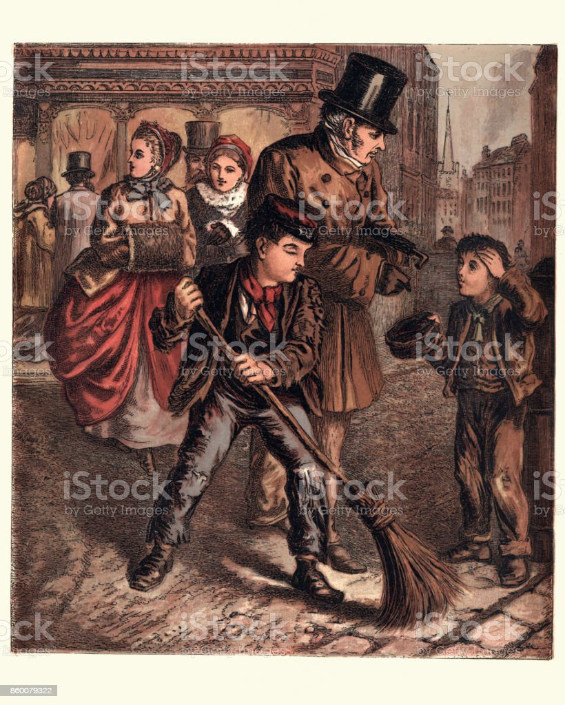 Victorian London boys begging and sweeping street, 1870 vector art illustration