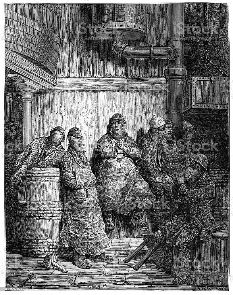 Victorian London - Brewer's Men vector art illustration