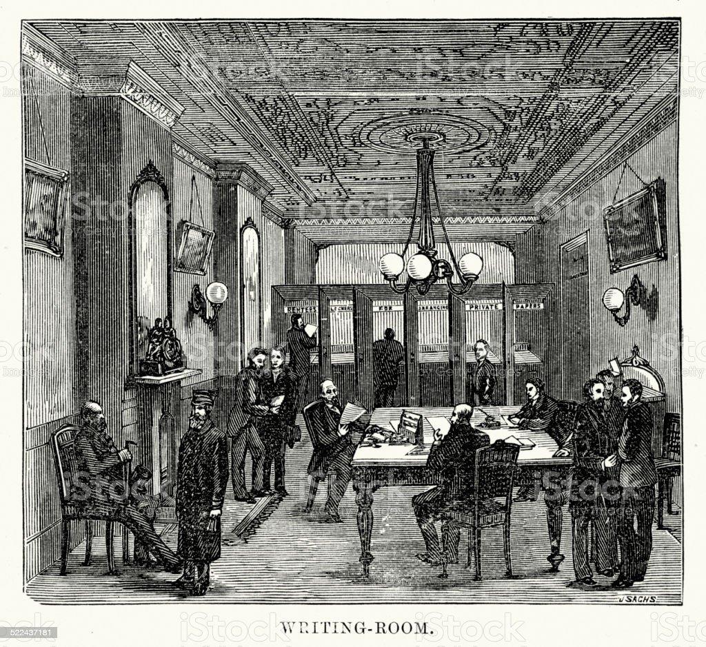 Victorian London Chancery Lane Safe Deposit vector art illustration