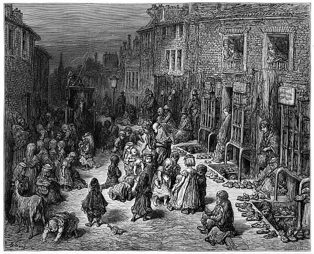 stockillustraties, clipart, cartoons en iconen met victorian london - dudley street, seven dials - antiek toestand