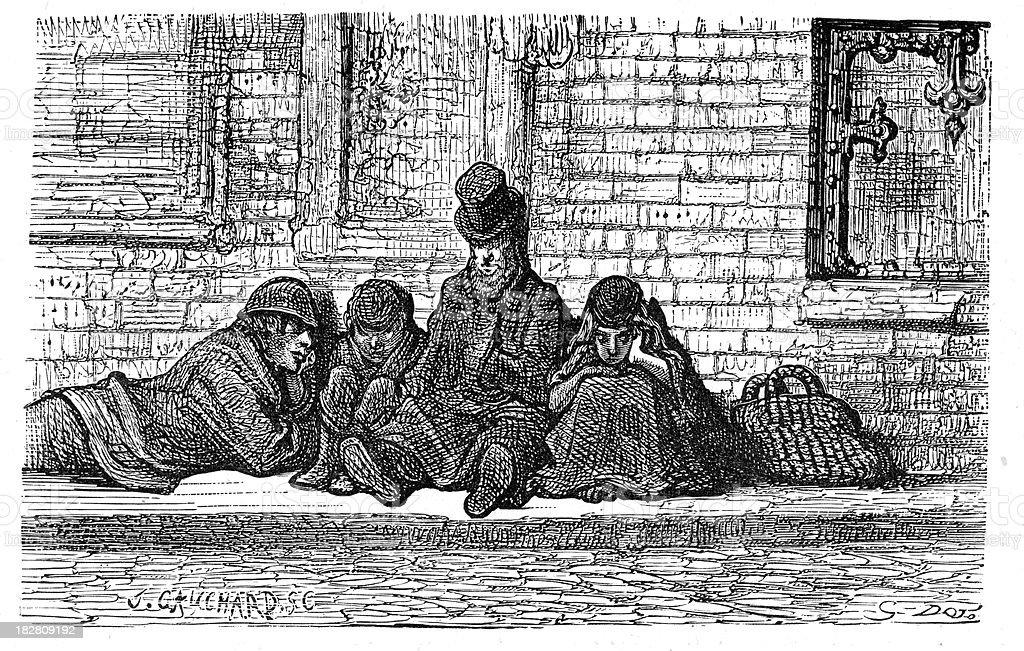 Victorian London - Homeless people asleep on the street vector art illustration