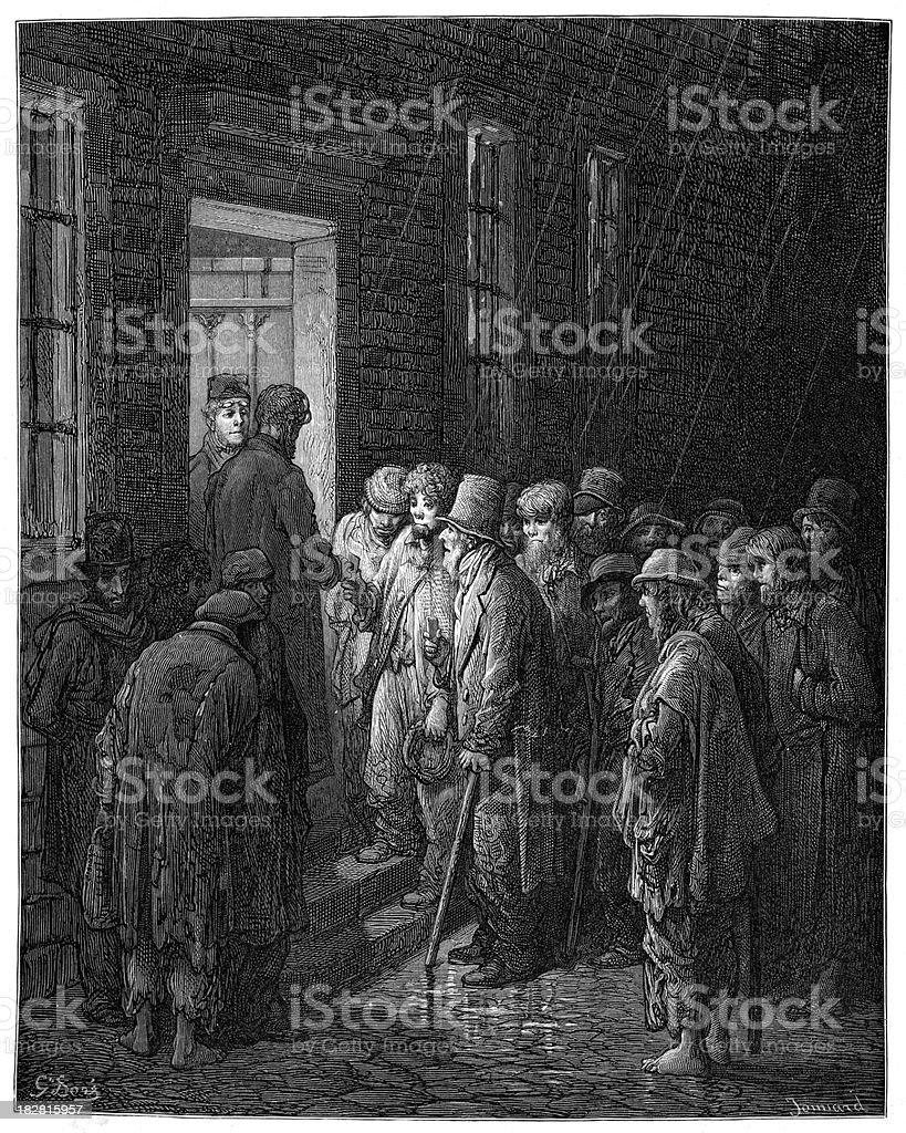 Victorian London - Homeless Refuge vector art illustration