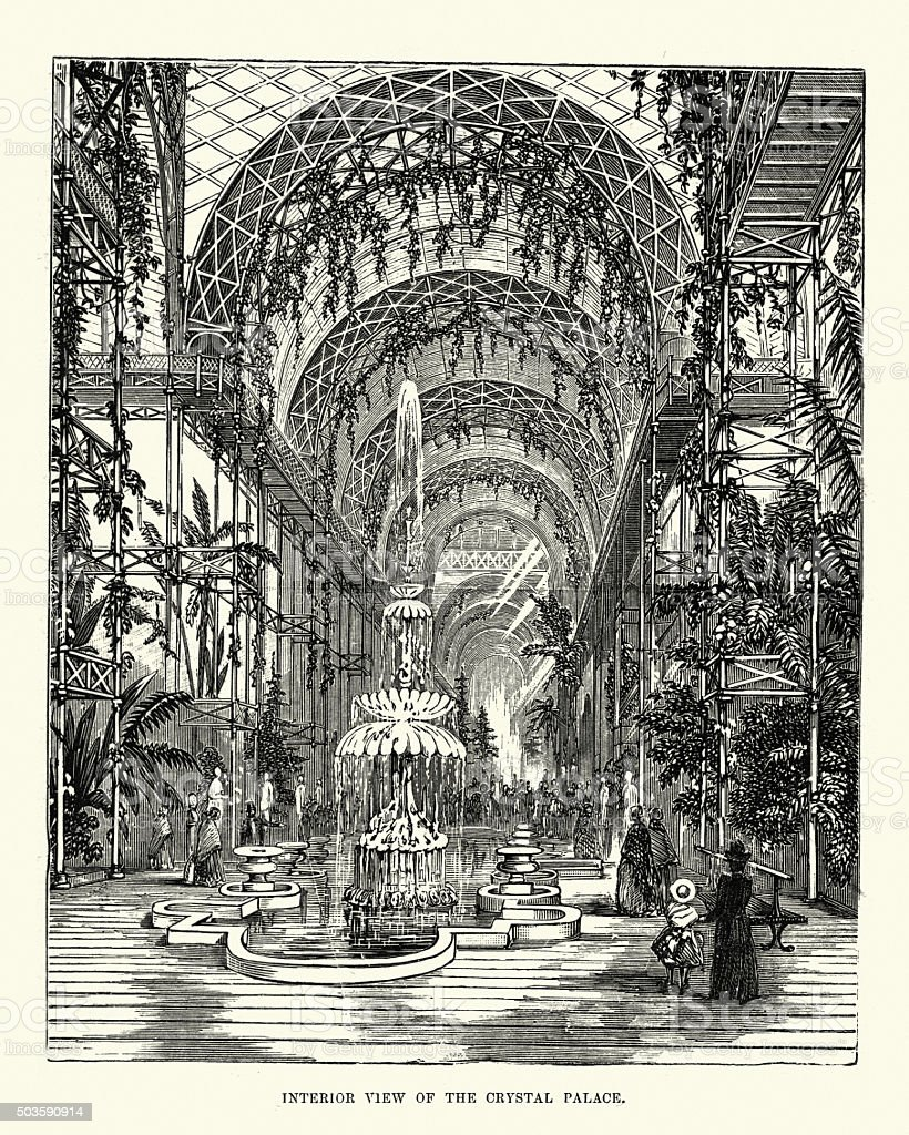 Victorian London - Interior view of Crystal Palace vector art illustration