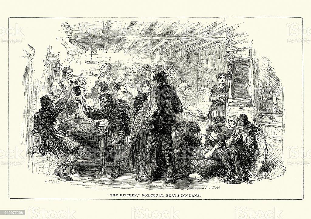 Victorian London - Kitchen, Fox Court, Gray's Inn Lane vector art illustration