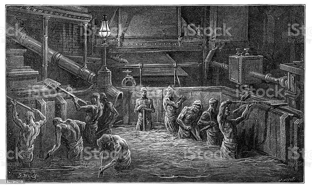 Victorian London -  Mixing the Malt vector art illustration