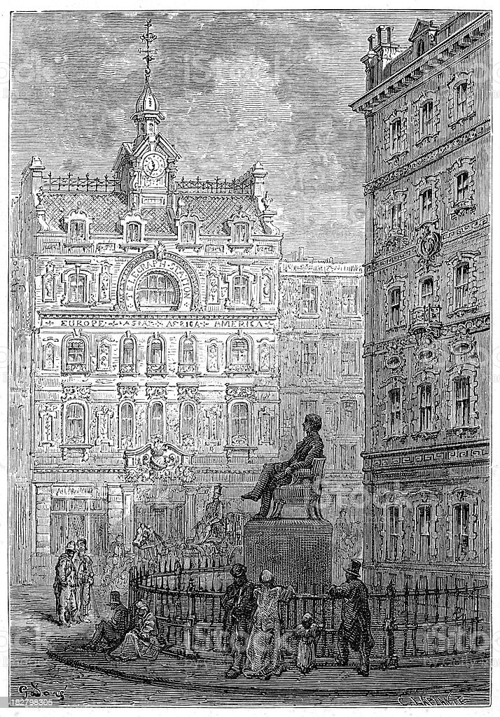 Victorian London - Monument to George Peabody. royalty-free stock vector art