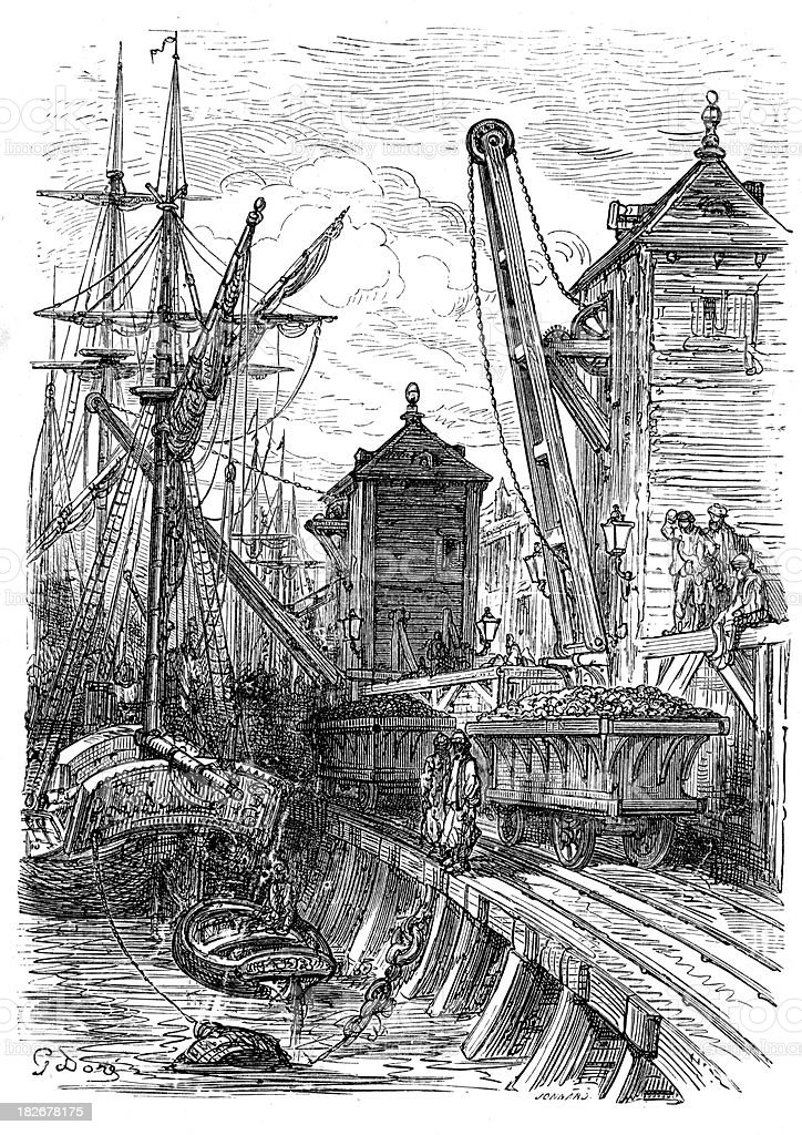 Victorian London - Poplar Dock vector art illustration