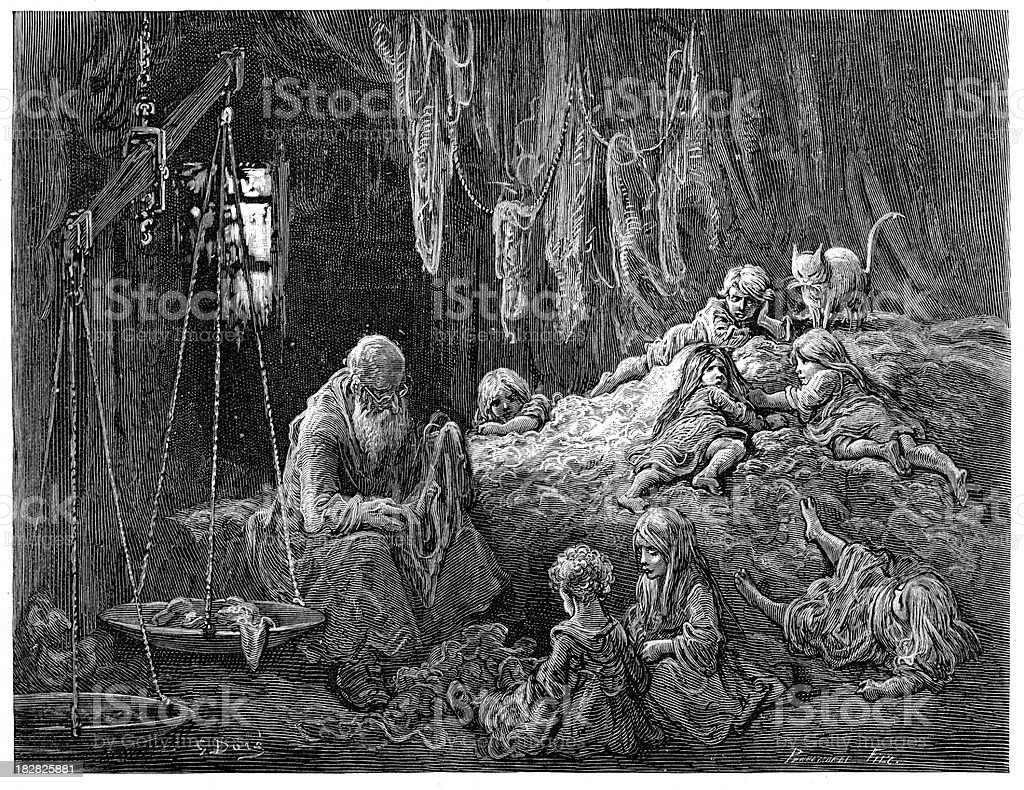 Victorian London - Rag merchants home royalty-free victorian london rag merchants home stock vector art & more images of 1870-1879