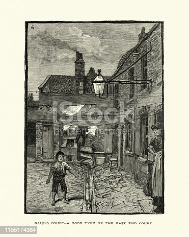 Vintage engraving of Victorian London, Rahn's Court in the East End, 19th Century, 1886