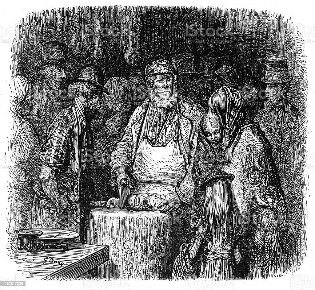 Victorian London - The Butcher vector art illustration