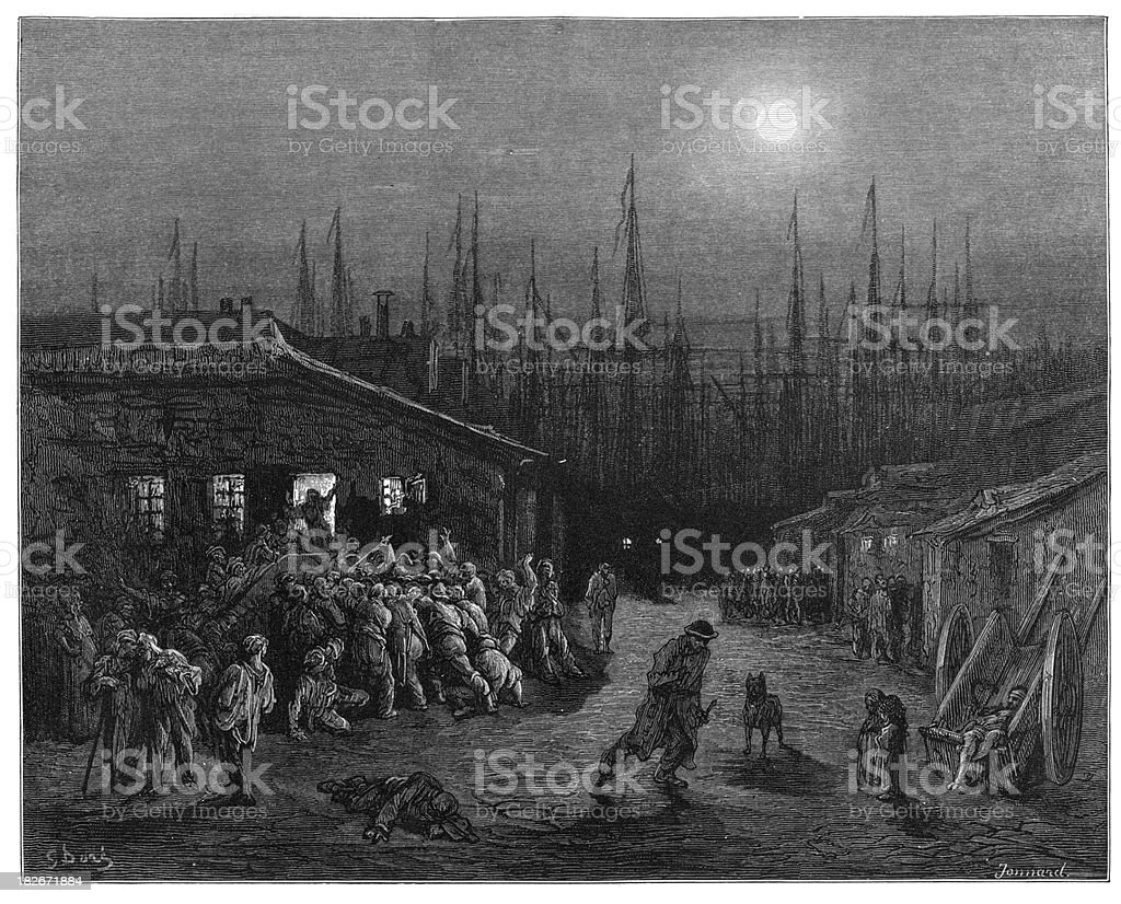 Victorian London - The Docks at Night royalty-free victorian london the docks at night stock vector art & more images of 19th century style