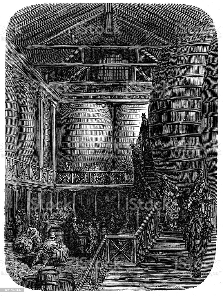 Victorian London - The Great Vats vector art illustration
