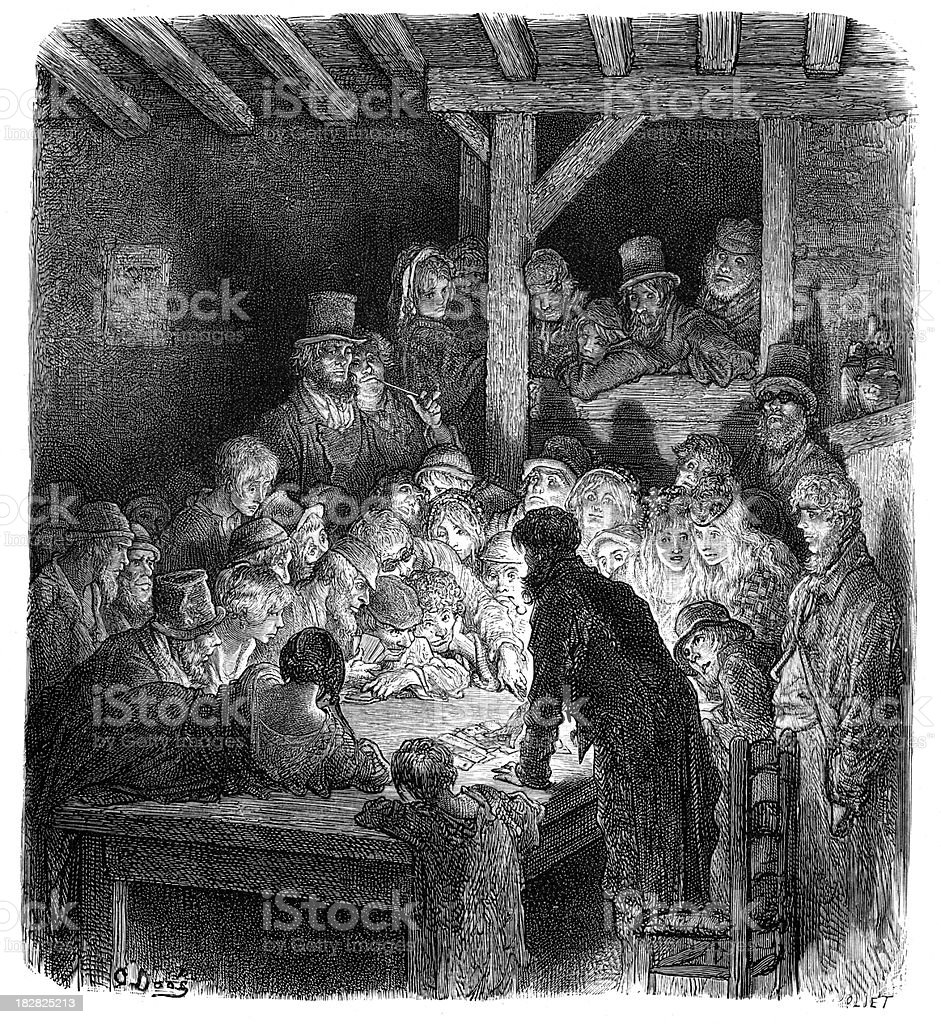 Victorian London - Thieves Gambling royalty-free stock vector art