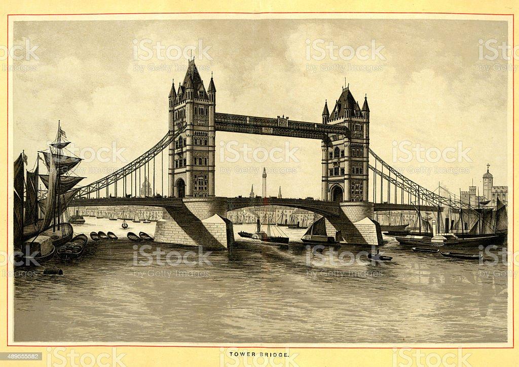 Victorian London - Tower Bridge vector art illustration