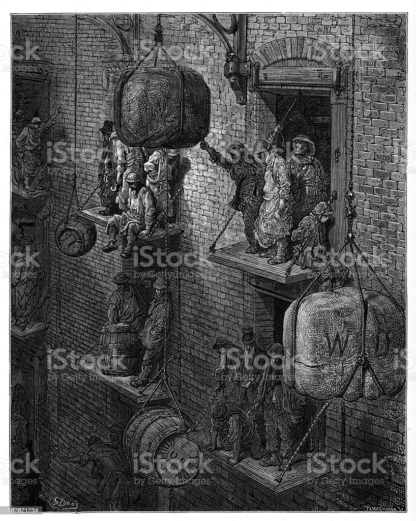 Victorian London - Warehousing in the City royalty-free stock vector art