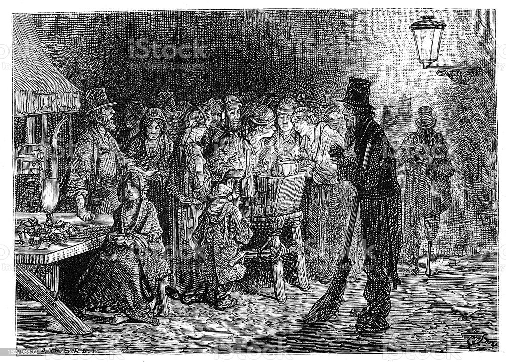 Victorian London - Whitechapel Refreshments royalty-free stock vector art