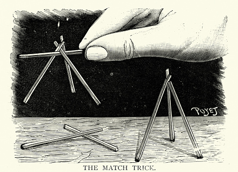 Vintage illustration of a Victorian magic trick using matches, 19th Century