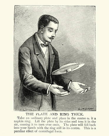 Vintage illustration of Victorian magician performing a plate and ring trick, 19th Century magic