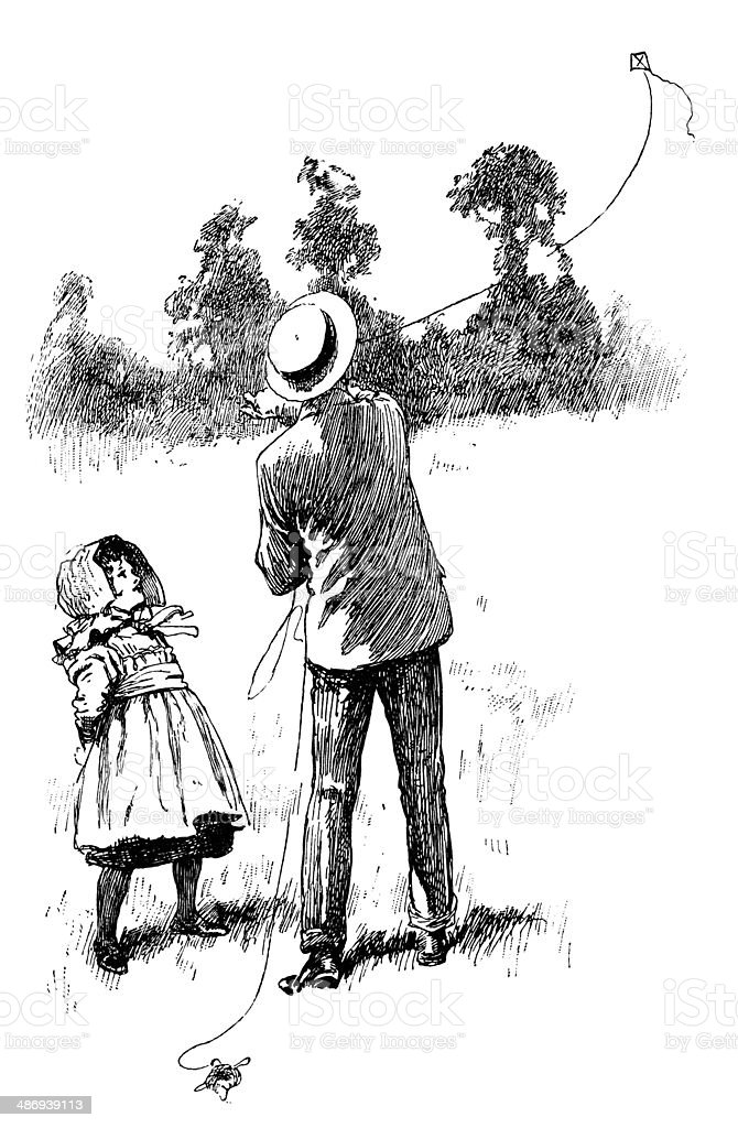 Victorian man and little girl flying a kite royalty-free stock vector art
