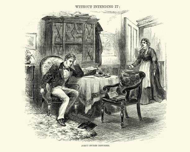 stockillustraties, clipart, cartoons en iconen met victoriaanse man verstoord door zijn huishoudster tijdens het schrijven van een brief 1872 - angry man writing a letter